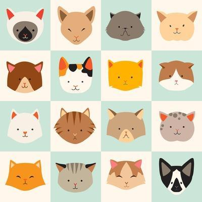 Set of Cute Cats Icons