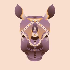 The Abstract Head of Rhino Vector Illustration by coffeee_in
