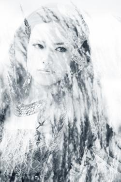 Beautiful Long Hair Brunette Woman Portrait, Double Exposure with Blades of Grass by coka