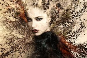 Beautiful Woman Portrait Double Exposure with Tree by coka