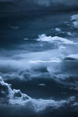 Dark Blue Night Sky with Clouds Formation by coka