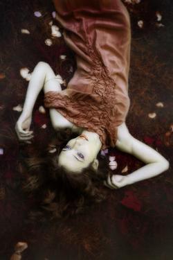 Fairy Lie on Fantasy Field in Elegant Golden Dress by coka