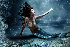 Mythology Being, Mermaid In Underwater Scene, Photo Compilation by coka