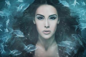 Surreal Mermaid Woman Portrait Surrounded by Fishes, Composite Photo by coka
