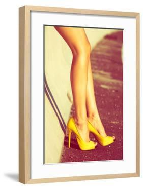 Woman Tan Legs In High Heel Yellow Shoes Outdoor Shot Summer Day by coka