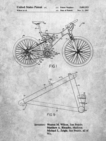 Mountain Bike Patent Art by Cole Borders