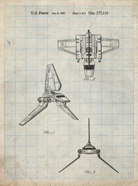 PP100-Antique Grid Parchment Star Wars Lambda Class T-4a Imperial Shuttle Patent Poster by Cole Borders