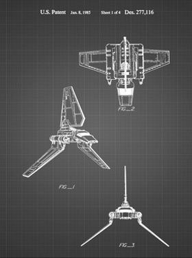 PP100-Black Grid Star Wars Lambda Class T-4a Imperial Shuttle Patent Poster by Cole Borders