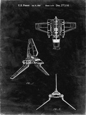 PP100-Black Grunge Star Wars Lambda Class T-4a Imperial Shuttle Patent Poster by Cole Borders
