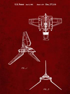 PP100-Burgundy Star Wars Lambda Class T-4a Imperial Shuttle Patent Poster by Cole Borders