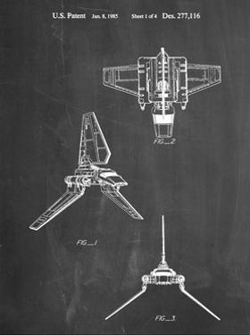 PP100-Chalkboard Star Wars Lambda Class T-4a Imperial Shuttle Patent Poster by Cole Borders