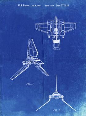 PP100-Faded Blueprint Star Wars Lambda Class T-4a Imperial Shuttle Patent Poster by Cole Borders