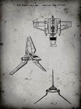 PP100-Faded Grey Star Wars Lambda Class T-4a Imperial Shuttle Patent Poster by Cole Borders