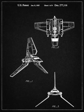 PP100-Vintage Black Star Wars Lambda Class T-4a Imperial Shuttle Patent Poster by Cole Borders