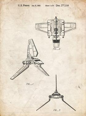 PP100-Vintage Parchment Star Wars Lambda Class T-4a Imperial Shuttle Patent Poster by Cole Borders