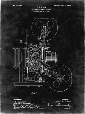 PP1000-Black Grunge Projecting Kinetoscope Patent Poster by Cole Borders