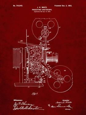 PP1000-Burgundy Projecting Kinetoscope Patent Poster by Cole Borders