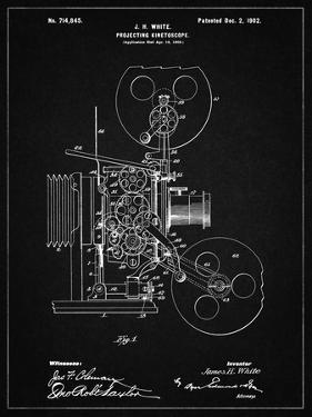 PP1000-Vintage Black Projecting Kinetoscope Patent Poster by Cole Borders