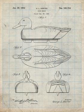 PP1001-Antique Grid Parchment Propelled Duck Decoy Patent Poster by Cole Borders