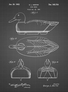 PP1001-Black Grid Propelled Duck Decoy Patent Poster by Cole Borders