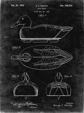 PP1001-Black Grunge Propelled Duck Decoy Patent Poster by Cole Borders
