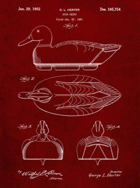 PP1001-Burgundy Propelled Duck Decoy Patent Poster by Cole Borders