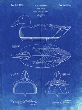 PP1001-Faded Blueprint Propelled Duck Decoy Patent Poster by Cole Borders