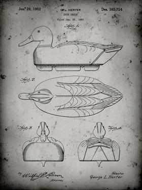 PP1001-Faded Grey Propelled Duck Decoy Patent Poster by Cole Borders