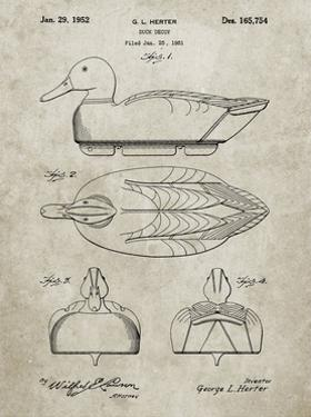 PP1001-Sandstone Propelled Duck Decoy Patent Poster by Cole Borders