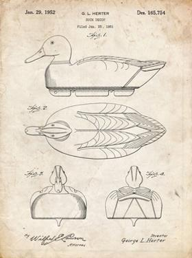 PP1001-Vintage Parchment Propelled Duck Decoy Patent Poster by Cole Borders
