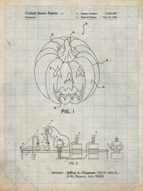 PP1003-Antique Grid Parchment Pumpkin Patent Poster by Cole Borders