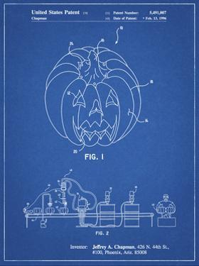 PP1003-Blueprint Pumpkin Patent Poster by Cole Borders