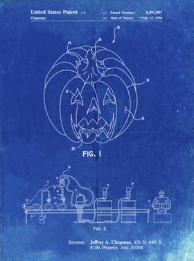 PP1003-Faded Blueprint Pumpkin Patent Poster by Cole Borders