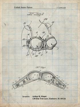 PP1004-Antique Grid Parchment Push-up Bra Patent Poster by Cole Borders