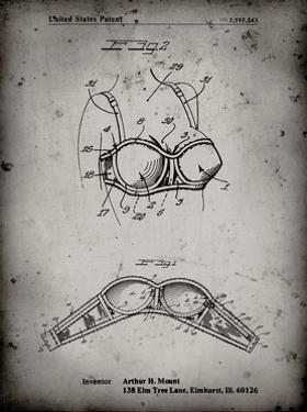 PP1004-Faded Grey Push-up Bra Patent Poster by Cole Borders