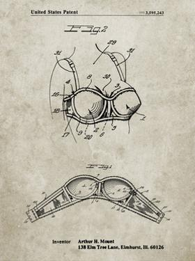 PP1004-Sandstone Push-up Bra Patent Poster by Cole Borders