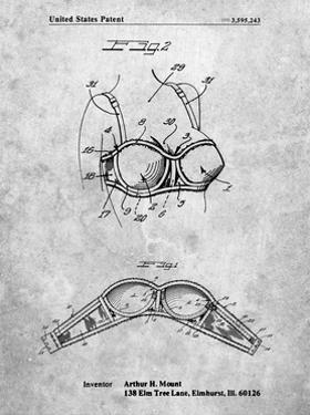 PP1004-Slate Push-up Bra Patent Poster by Cole Borders