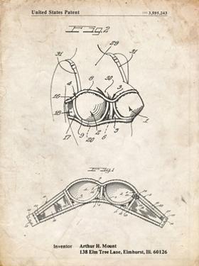 PP1004-Vintage Parchment Push-up Bra Patent Poster by Cole Borders