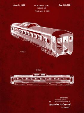 PP1006-Burgundy Railway Passenger Car Patent Poster by Cole Borders