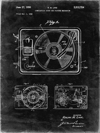 PP1009-Black Grunge Record Player Patent Poster