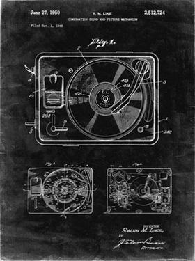 PP1009-Black Grunge Record Player Patent Poster by Cole Borders