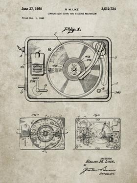 PP1009-Sandstone Record Player Patent Poster by Cole Borders