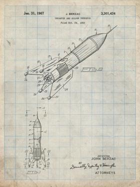 PP1016-Antique Grid Parchment Rocket Ship Concept 1963 Patent Poster by Cole Borders