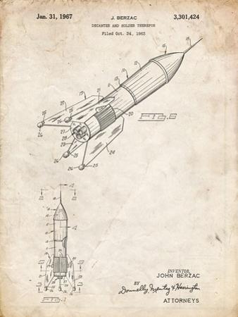 PP1016-Vintage Parchment Rocket Ship Concept 1963 Patent Poster by Cole Borders