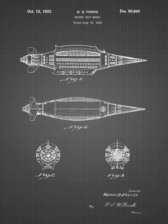 PP1017-Black Grid Rocket Ship Model Patent Poster by Cole Borders