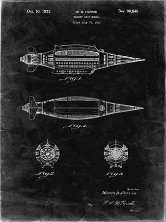 PP1017-Black Grunge Rocket Ship Model Patent Poster by Cole Borders