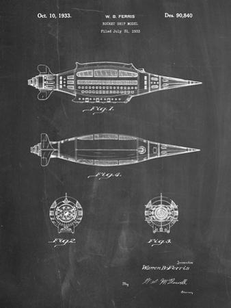 PP1017-Chalkboard Rocket Ship Model Patent Poster by Cole Borders
