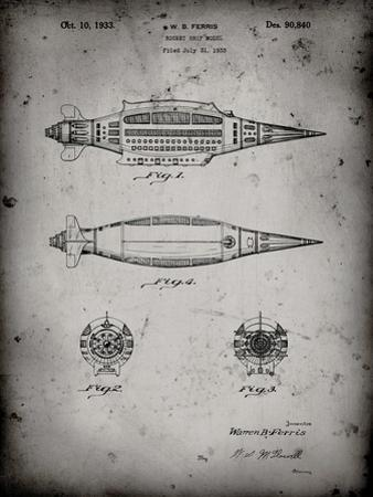 PP1017-Faded Grey Rocket Ship Model Patent Poster by Cole Borders