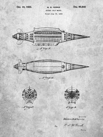 PP1017-Slate Rocket Ship Model Patent Poster by Cole Borders