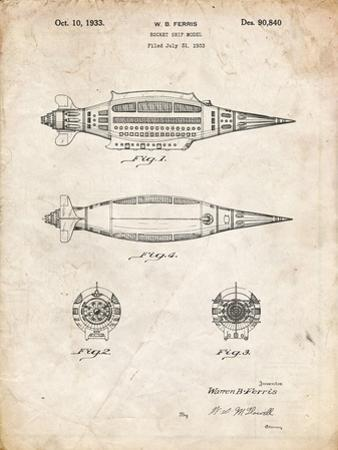 PP1017-Vintage Parchment Rocket Ship Model Patent Poster by Cole Borders